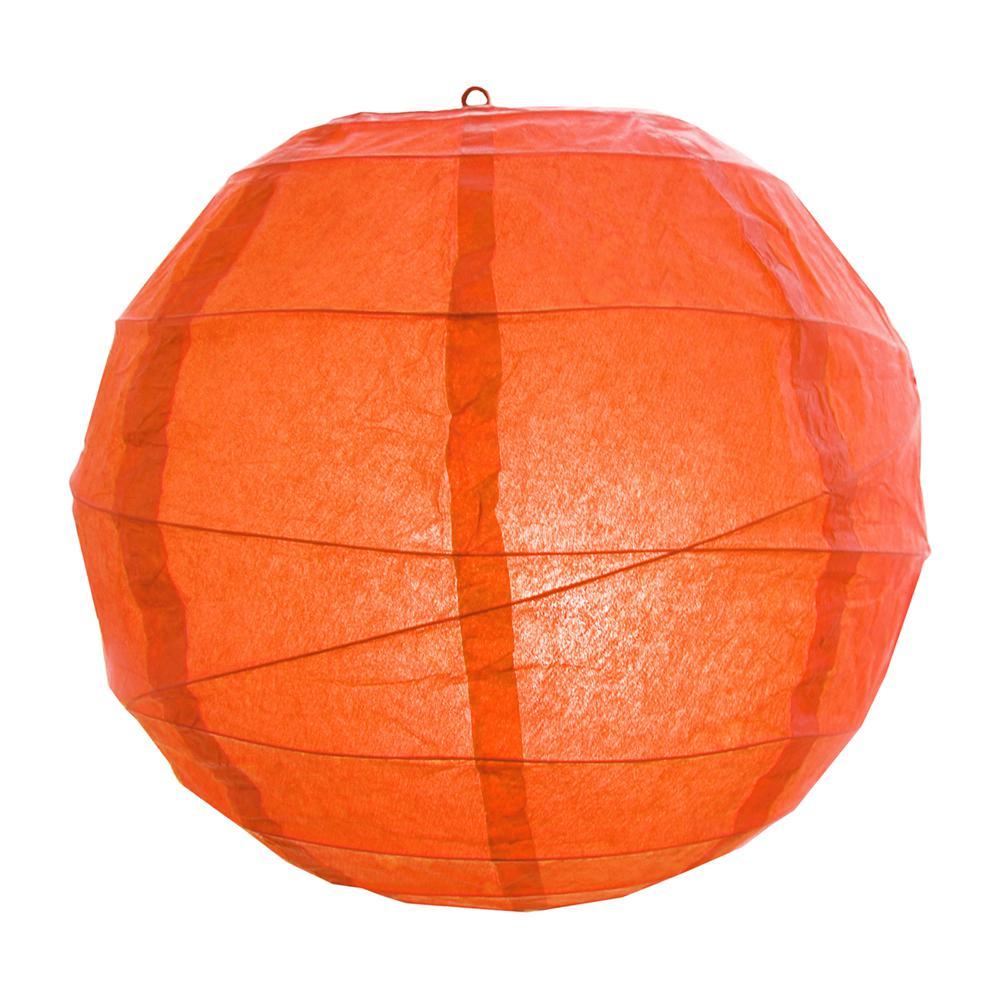 CrissCross 12 in. x 12 in. Orange Round Paper Lantern (5-Pack)