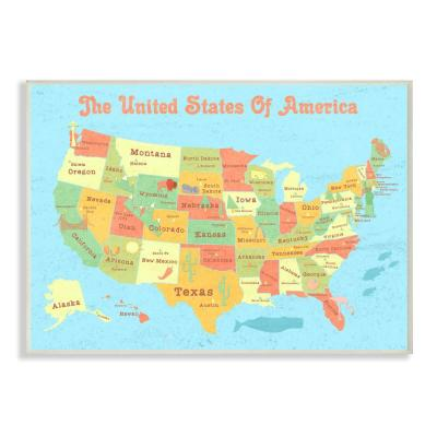 """10 in. x 15 in. """"United States of America USA Kids Map"""" by Daphne Polselli Printed Wood Wall Art"""
