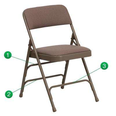 Hercules Series Curved Triple Braced & Double Hinged Beige Fabric Upholstered Metal Folding Chair