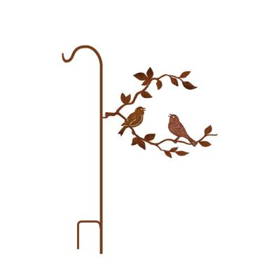 50 in. Tall Yellowish Brown Rust Steel Shepherd's Hook with Singing Birds on Branch