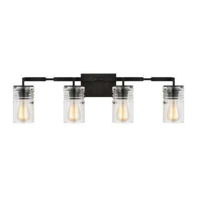 Ansley 32.75 in. W. 4-Light Aged Iron Vanity Light with Clear Glass Shades