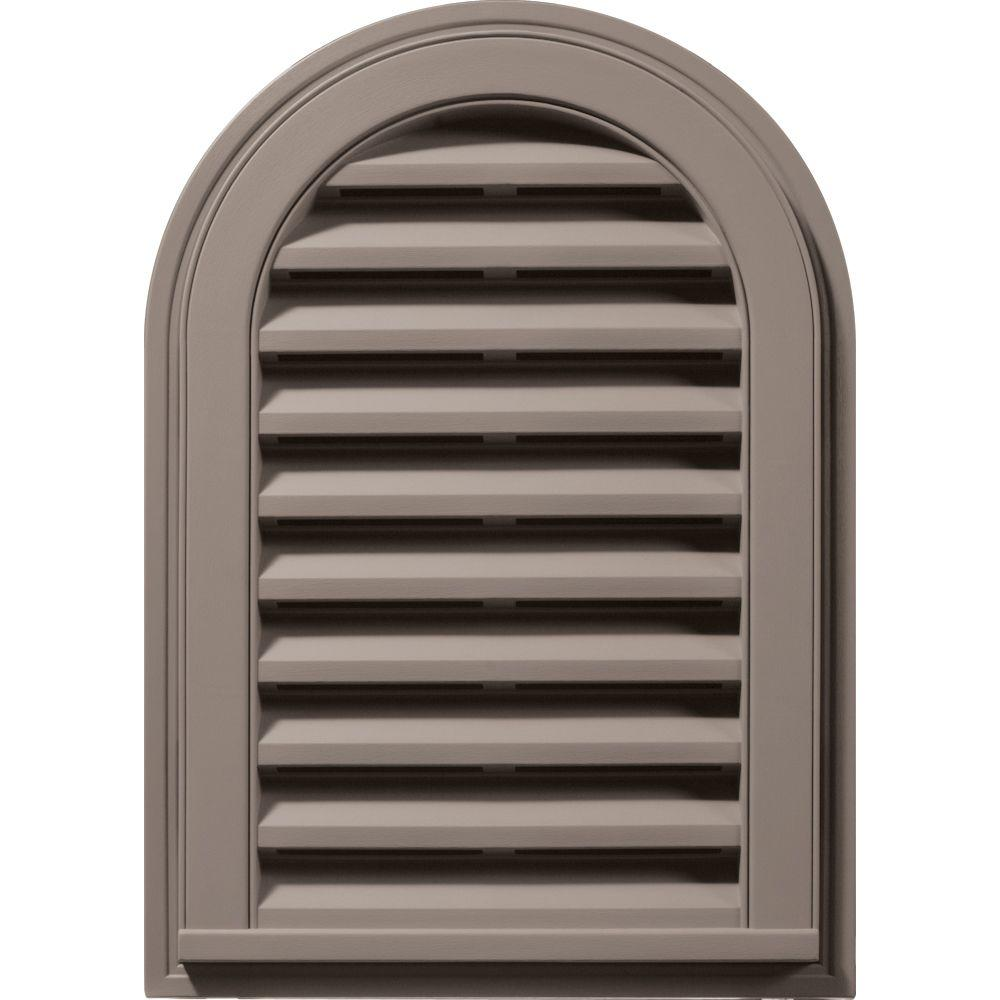 Builders Edge 14 in. x 22 in. Round Top Gable Vent in Clay