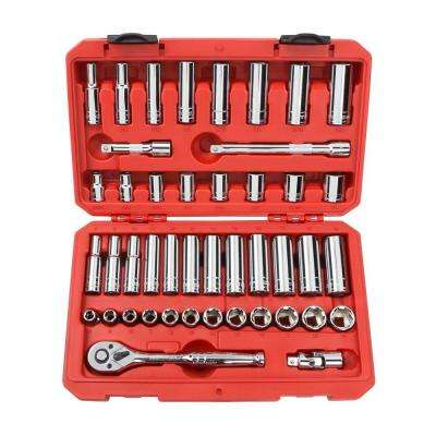 3/8 in. Drive 5/16-3/4 in., 8-19 mm 6-Point Socket Set (45-Piece)