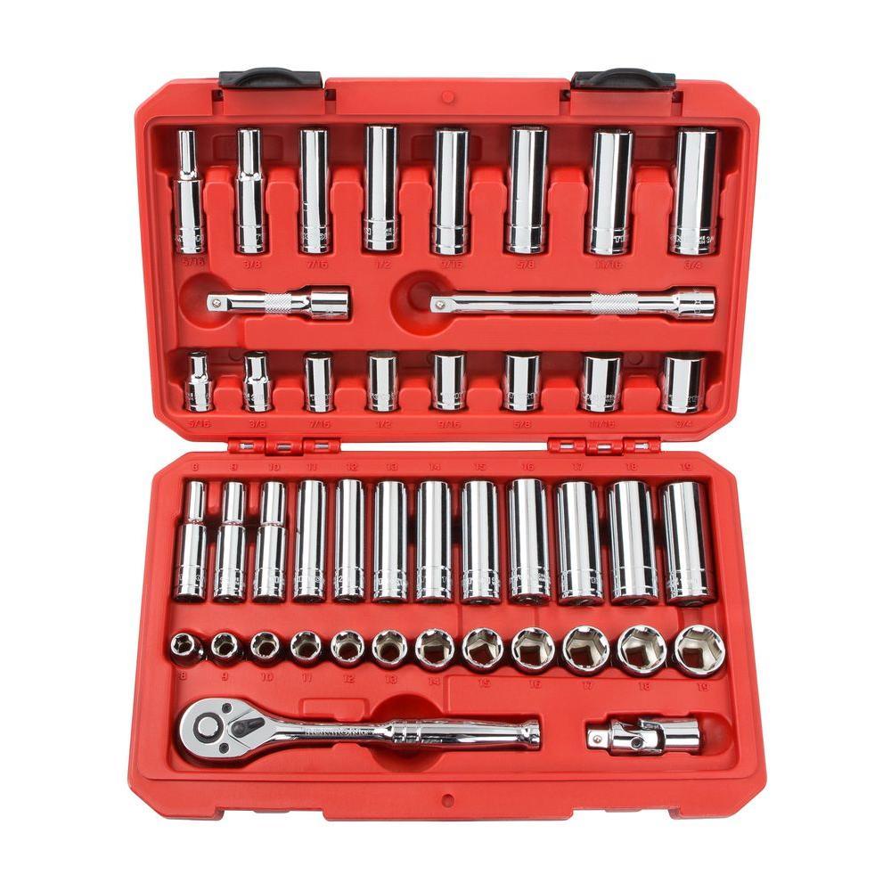 3/8 in. Drive 5/16-3/4 in., 8-19 mm 6-Point Socket Set (45-Piece)