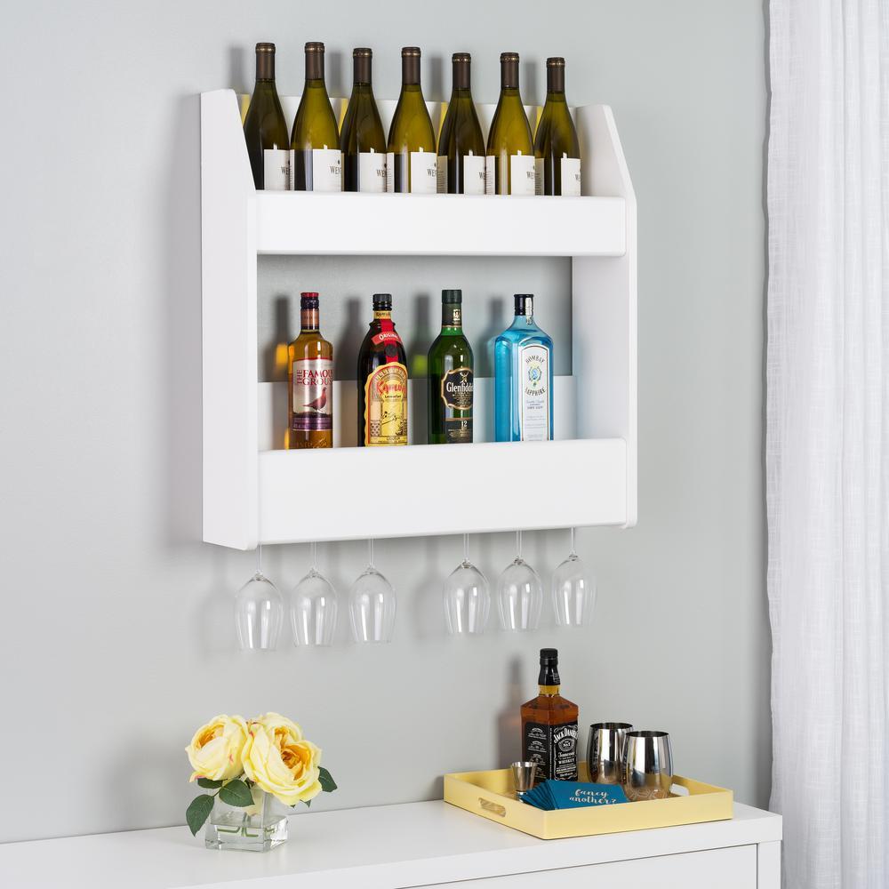 Black 2 Shelf Composite Wood Floating Wine Liquor Rack Wall Mounted Bar Kitchen