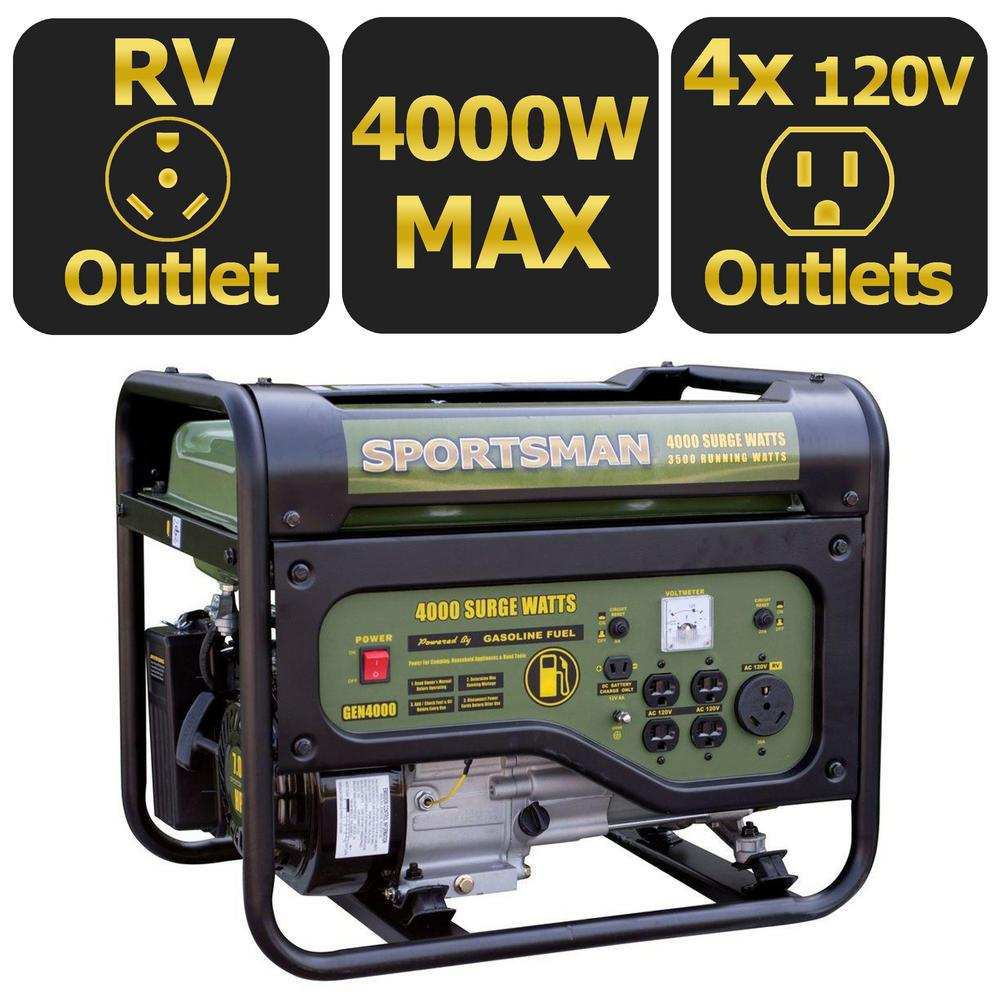 Sportsman 4000 3500 Watt Gasoline Powered Portable Generator With Rain Sound Effects Circuit Rv Outlet