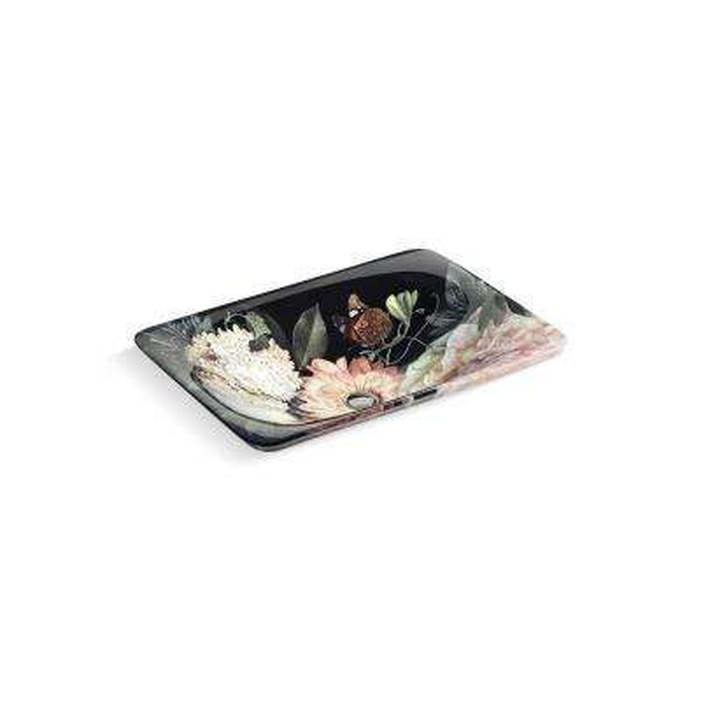 Dutchmaster Rectangular Vessel Sink in Blush Floral