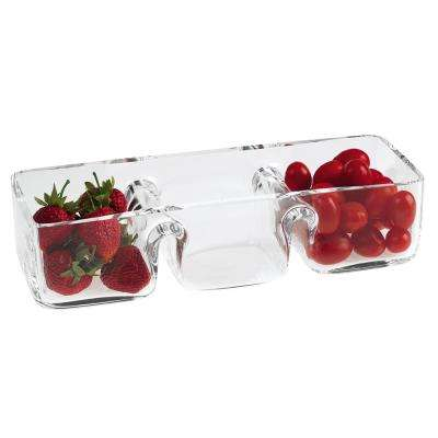 12 in. x 4.5 in. Hostess European Mouth Blown Lead Free Crystal 3-Section Serving Dish