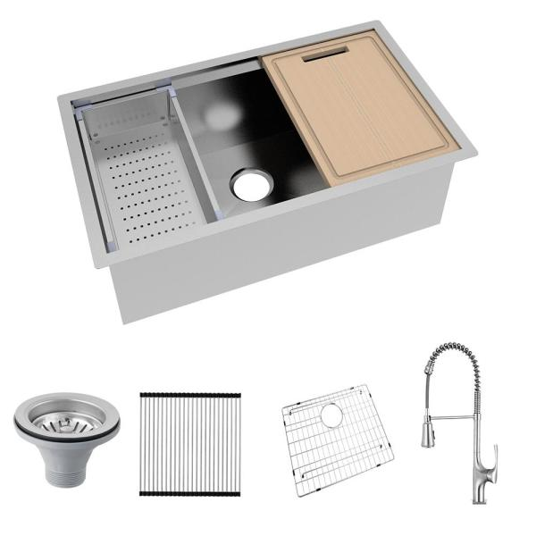 All-in-One Undermount Stainless Steel 32 in. Single Bowl Kitchen Workstation Sink with Faucet and Accessories Kit