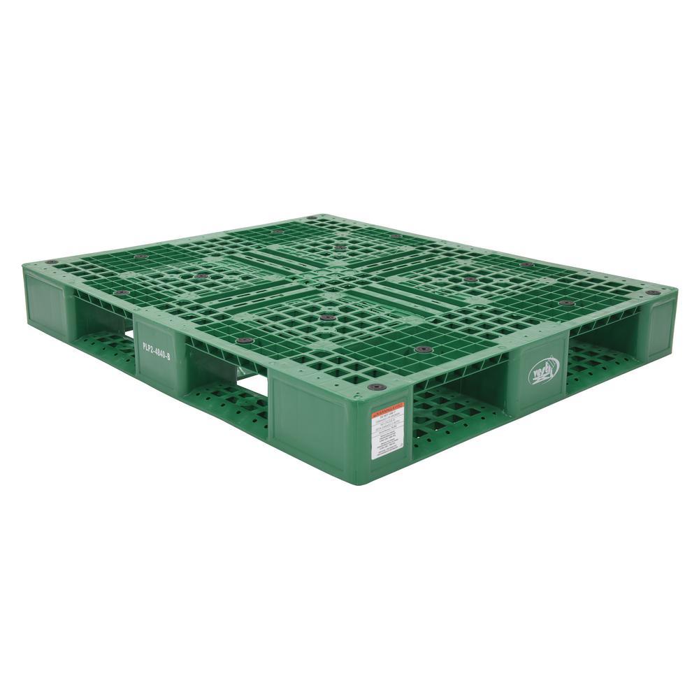 48 in. x 40 in. x 6 in. Green Plastic Pallet/Skid