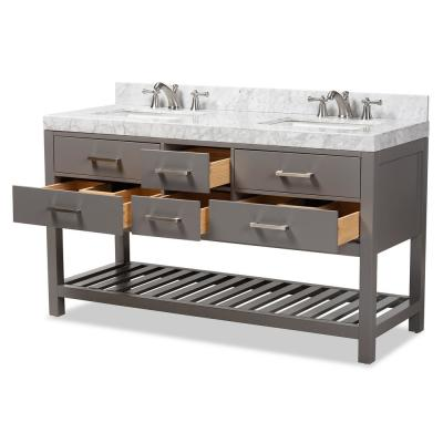 Yolanda 60 in. W x 34.7 in. H Bath Vanity in Gray with Vanity Top in White with High Gloss White Basin