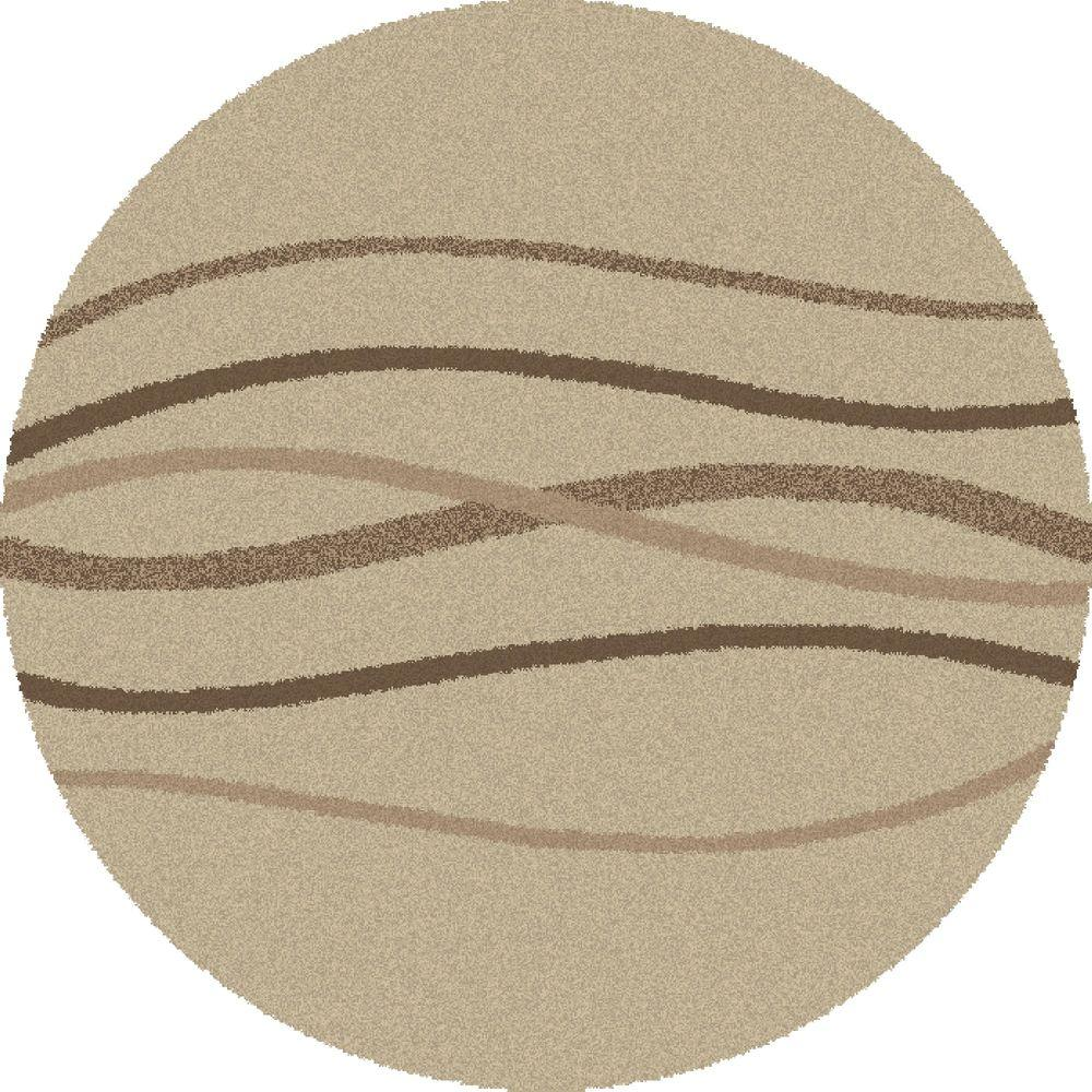 Concord Global Trading Shaggy Waves Natural 6 ft. 7 in. Round Area Rug