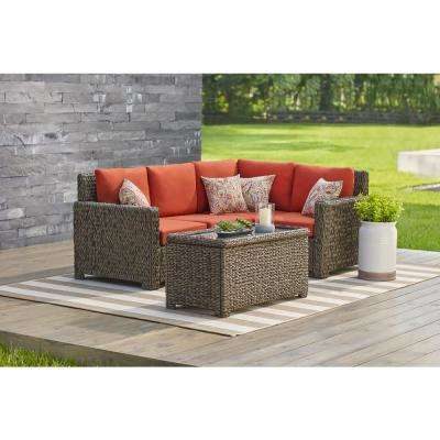 Laguna Point 5 Piece Brown All Weather Wicker Outdoor Sectional Set With  Quarry Red