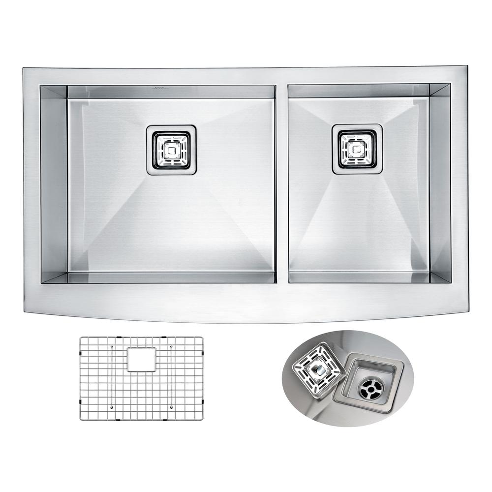 Elysian Farmhouse Apron Front Stainless Steel 36 in. 0-Hole 60/40 Double