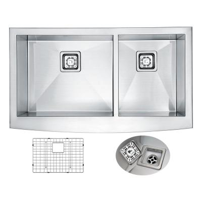 ELYSIAN Series Farmhouse/Apron-Front Stainless Steel 35.875 in. 0-Hole 60/40 Handmade Double Bowl Kitchen Sink