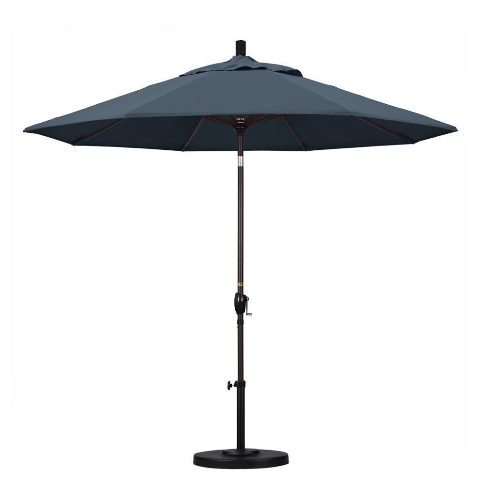 9 ft. Aluminum Push Tilt Patio Umbrella in Sapphire Pacifica