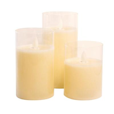 Battery Operated Glass Hurricane Candles with Moving Flame (Set of 3)