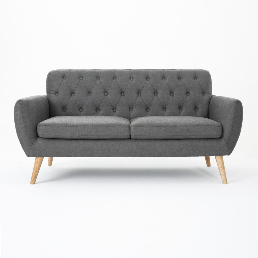 Bernice Dark Grey and Natural Sofa