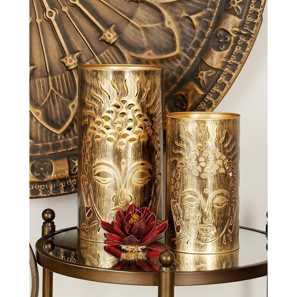 Rustic Brown and Tan Iron Buddha Head Candle Lanterns (Set of 3)