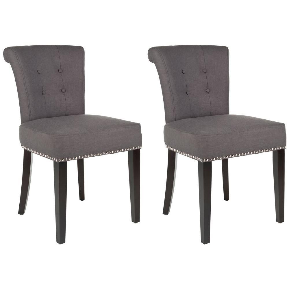 Sinclair Charcoal/Espresso Linen Blend Side Chair (Set of 2)