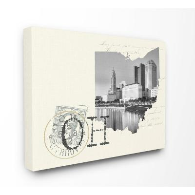 """30 in. x 40 in. """"Ohio Black and White Photograph on Cream Paper Postcard"""" by Daphne Polselli Canvas Wall Art"""
