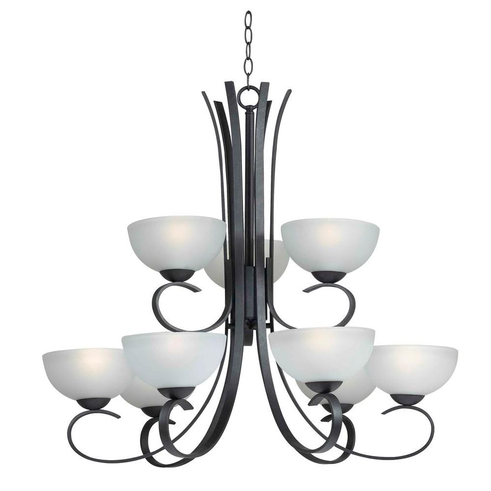 Kenroy Home Maple 9-Light Forged Graphite Chandelier