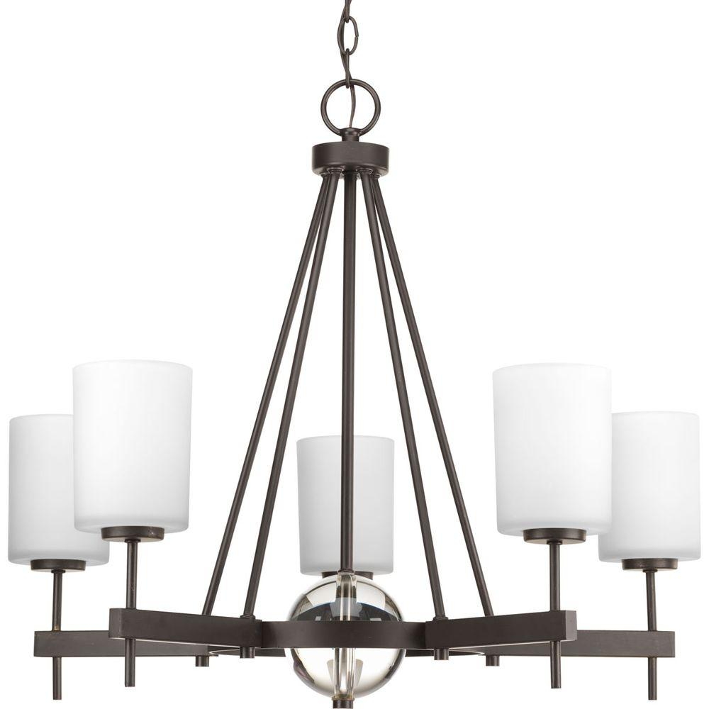 Compass Collection 5-Light Antique Bronze Chandelier with Opal Etched Glass