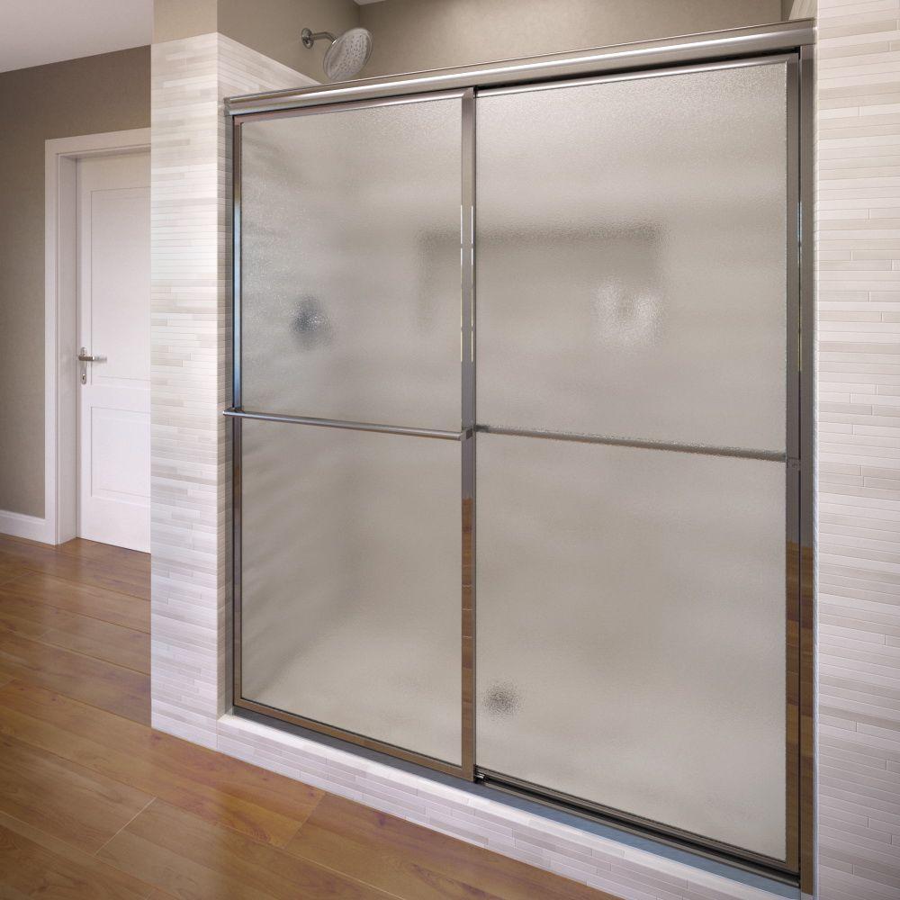 Basco Deluxe 51-3/8 in. x 68 in. Framed Sliding Shower Door in Silver