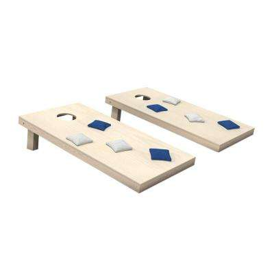 Wooden Cornhole Toss Game Set with Royal Blue and White Bags