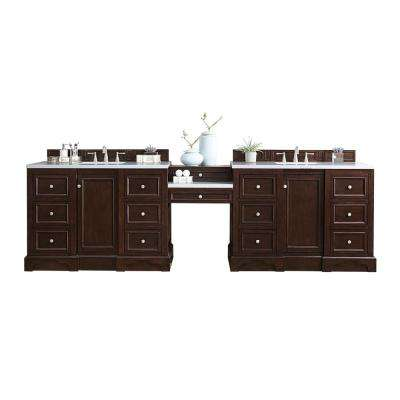 De Soto 120.50 in. W Double Bath Vanity in Mahogany with Solid Surface Vanity Top in Arctic Fall with White Basin