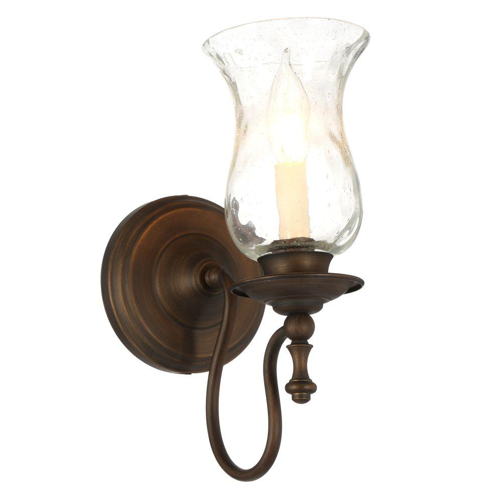 hampton bay grace 1-light rubbed bronze sconce with seeded glass