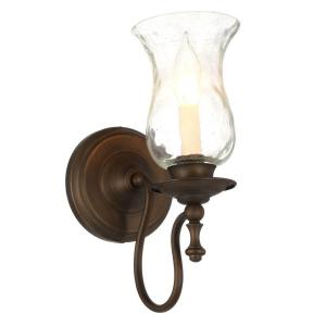 Hampton Bay Grace 1-Light Rubbed Bronze Sconce with Seeded Glass Shade by Hampton Bay