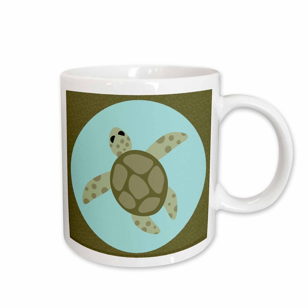 7b45284193c5 Janna Salak Designs Under the Sea Cute Sea Turtle Green and Blue 11 oz.  White Ceramic Coffee Mug
