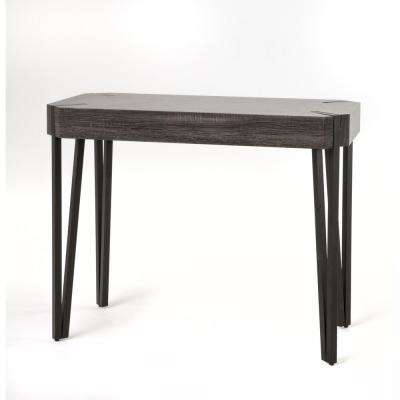 Brown Wood and Metal Octagonal Console Table