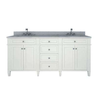 Samantha 72 in. W x 22 in. D Double Vanity in White with Marble Vanity Top in White with White Basin