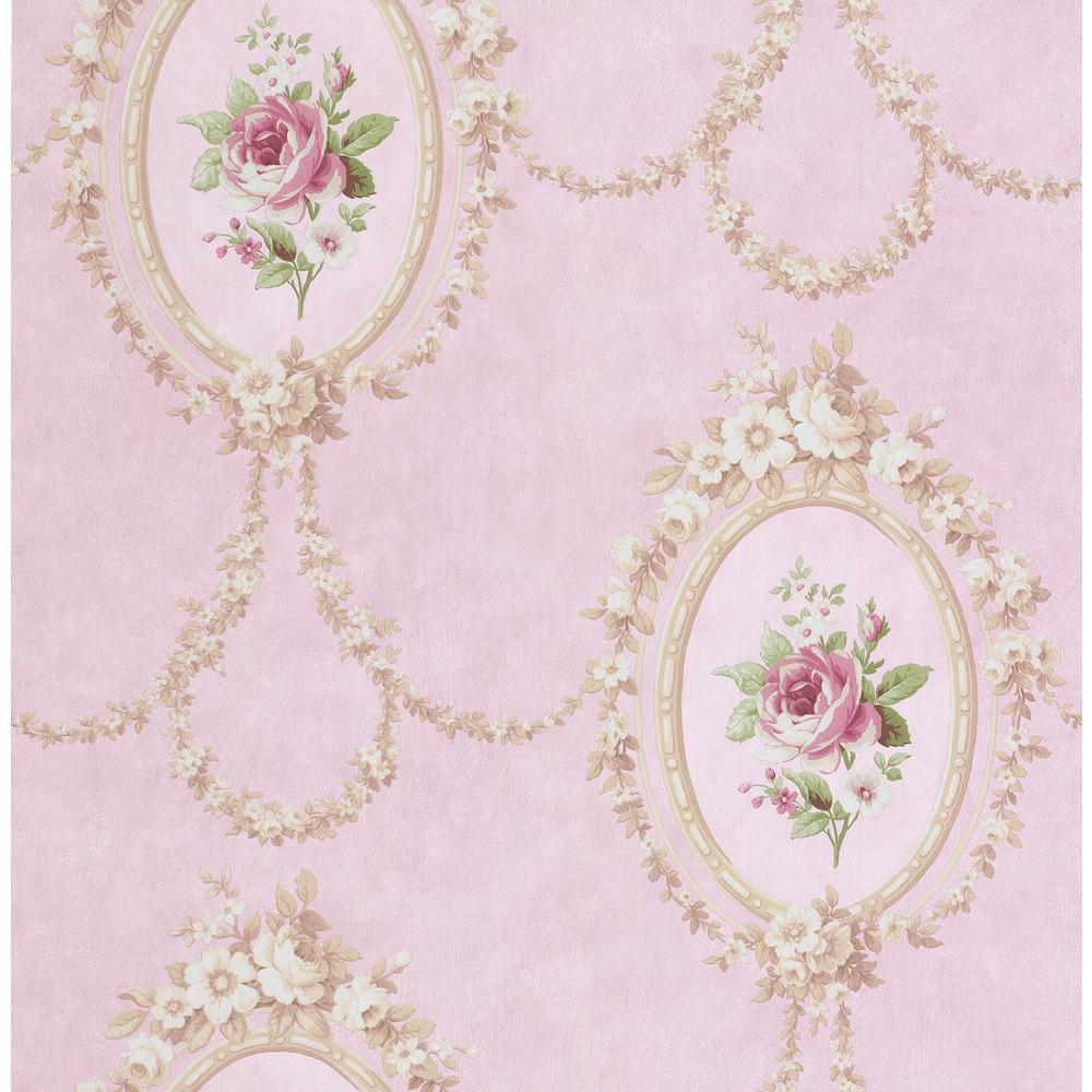 Gabriella Pink Floral Cameo Wallpaper