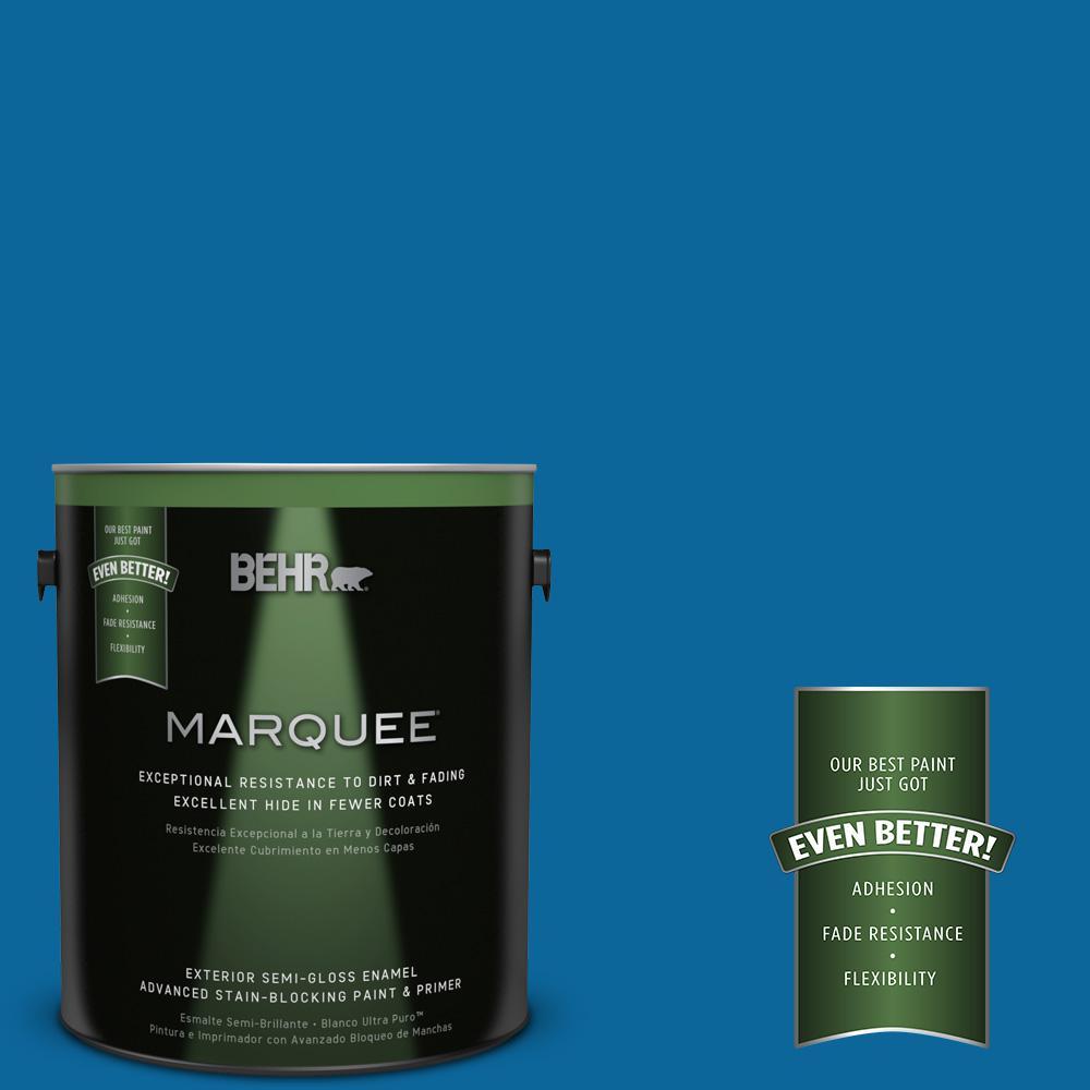 BEHR MARQUEE 1-gal. #MQ4-58 Mondrian Blue Semi-Gloss Enamel Exterior Paint