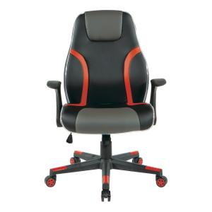 Input Mid Back Gaming Chair Black Faux Leather with Red Trim and Accents Arms KD