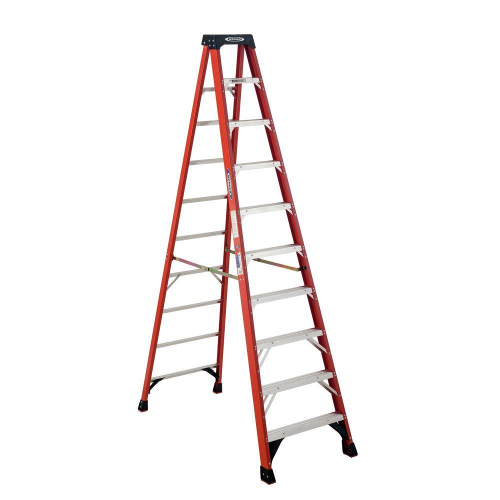 Werner 10 ft. Fiberglass Step Ladder with 300 lb. Load Capacity Type ...