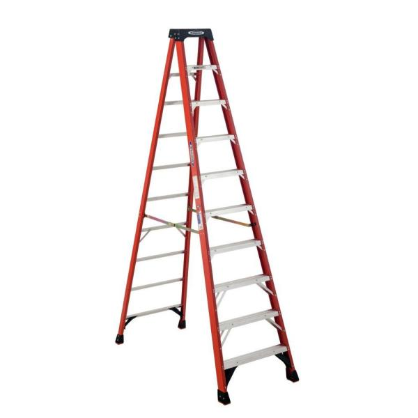 10 ft. Fiberglass Step Ladder with 300 lb. Load Capacity Type IA Duty Rating