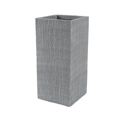 27.75 in. H Tall Light Gray Clay Square MgO Planter