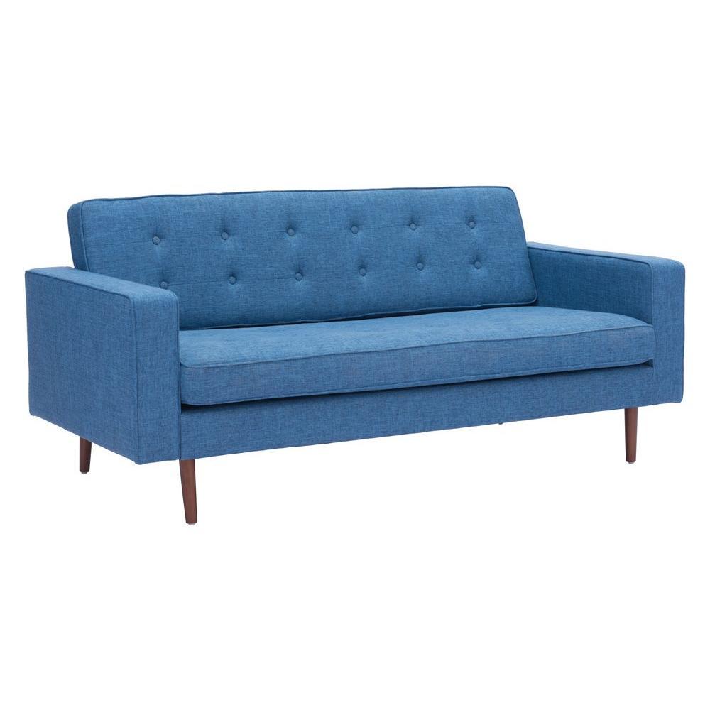 Puget Blue Cotton Linen Blend Sofa