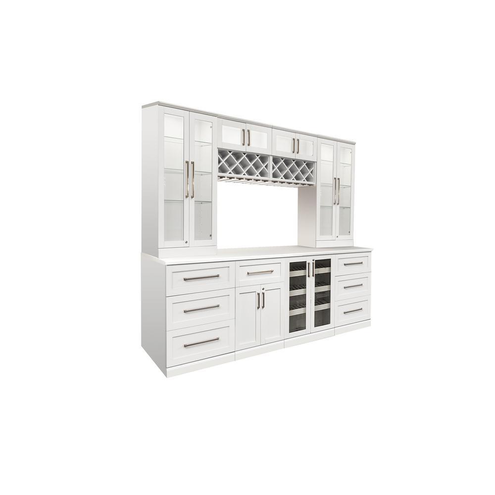 Home Bar White 9-Piece Shaker Style Bar Cabinet