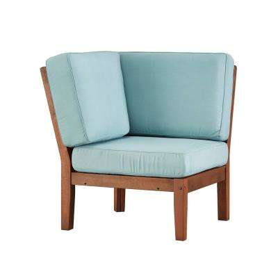 Verdon Gorge Brown Oiled Wood Outdoor Corner Lounge Chair with Blue Cushion