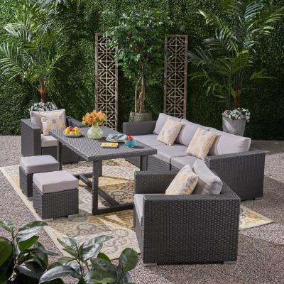 Santa Rosa Grey 8-Piece Wicker and Aluminum Outdoor Dining Set with Light Grey Cushions