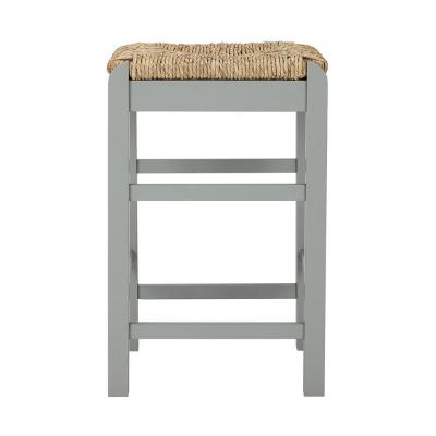 Dorsey Willow Green Wood Backless Counter Stool with Rush Seat (16.54 in. W x 25.59 in. H)