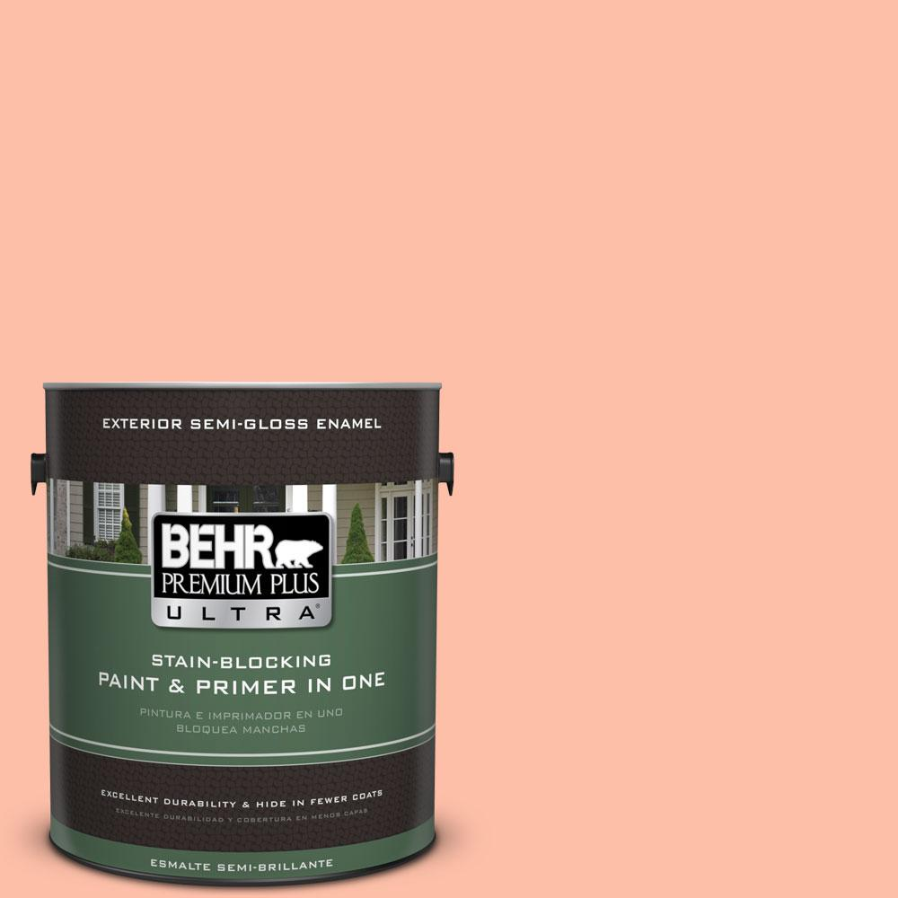 BEHR Premium Plus Ultra 1-gal. #220A-3 Sweet Apricot Semi-Gloss Enamel Exterior Paint