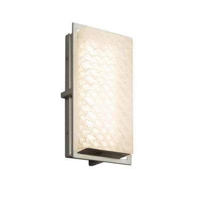 Fusion Avalon Brushed Nickel Outdoor Integrated LED Wall Lantern Sconce with Weave Shade