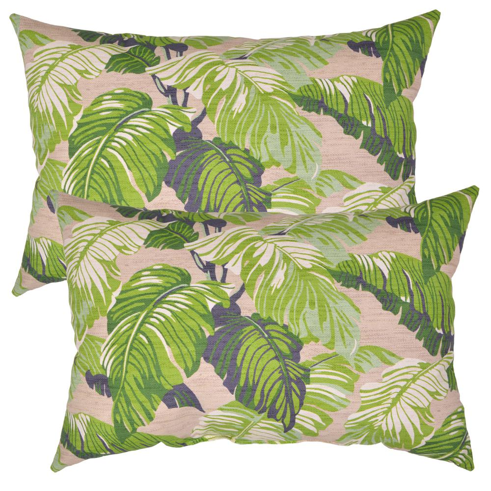 Fern Tropical Lumbar Outdoor Throw Pillow (2-Pack)