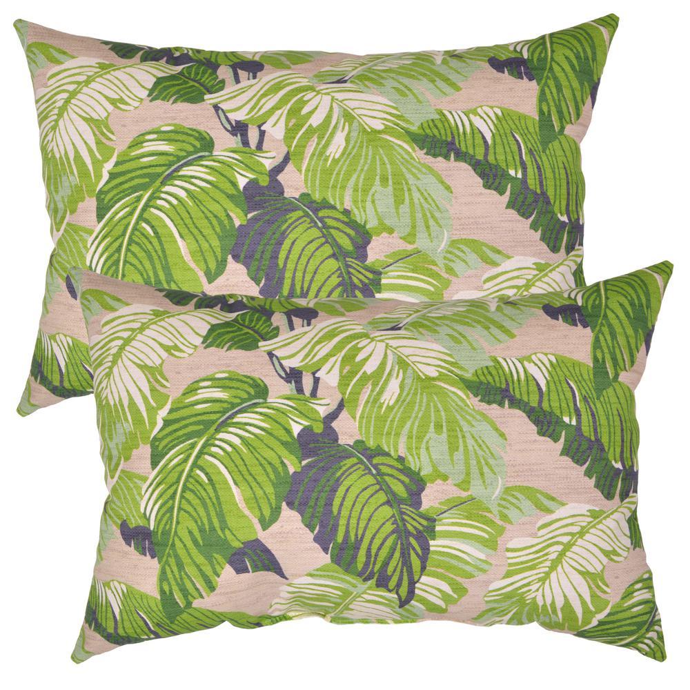 Fern Tropical Lumbar Outdoor Throw Pillow (2-Pack)